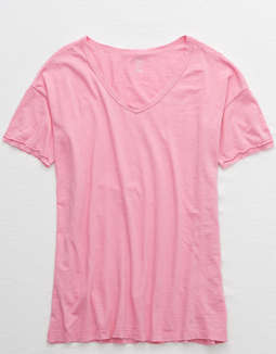 Aerie Distressed V Neck Boyfriend T Shirt by American Eagle Outfitters