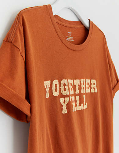 Aerie Together Y'all Distressed Boyfriend T-Shirt