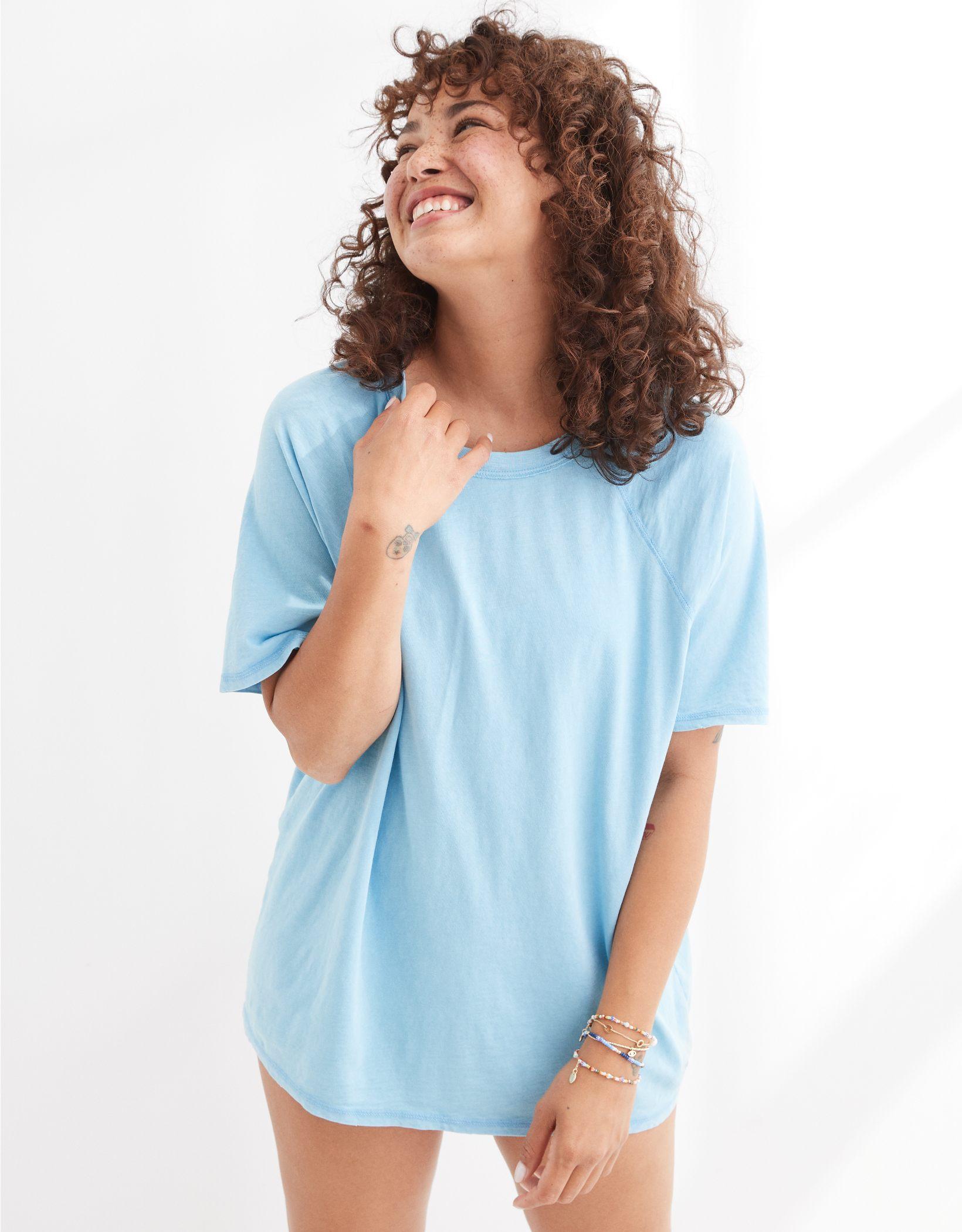 Aerie Distressed Raglan Boyfriend T-Shirt