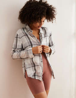 Aerie Camp Flannel Button Down Shirt