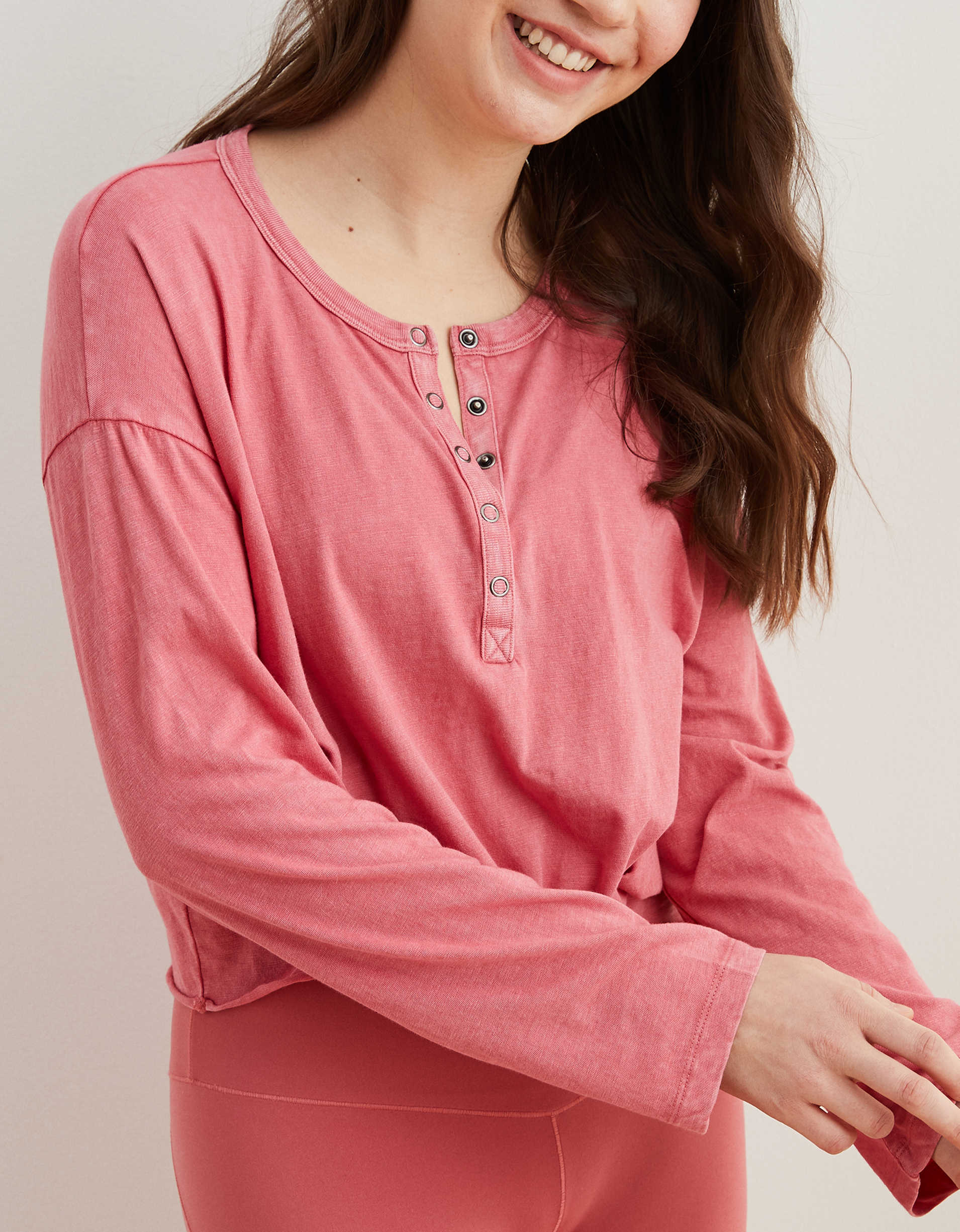 Aerie Long Sleeve Knotted Henley T-Shirt