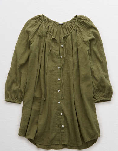 Aerie Long Sleeve Button Down Cover Up