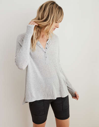 Aerie Ribbed Oversized Henley Long Sleeve T-Shirt