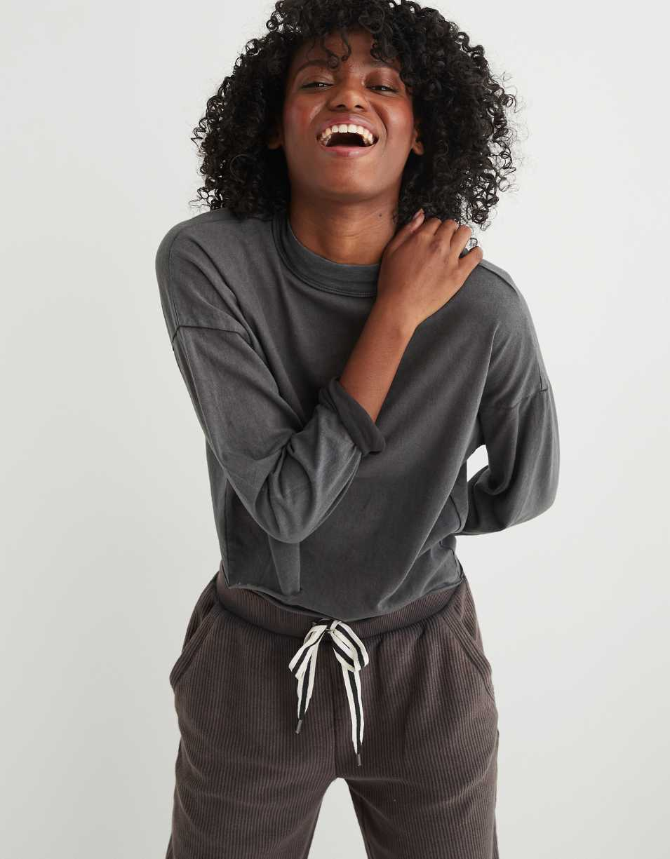 Aerie Long Sleeve Mockneck Cropped T-Shirt