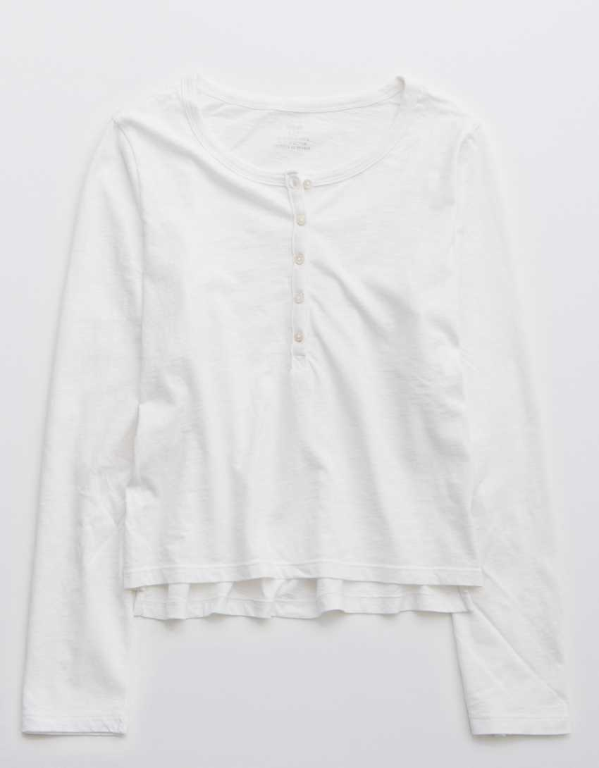 Aerie Long Sleeve Cropped Henley T-Shirt