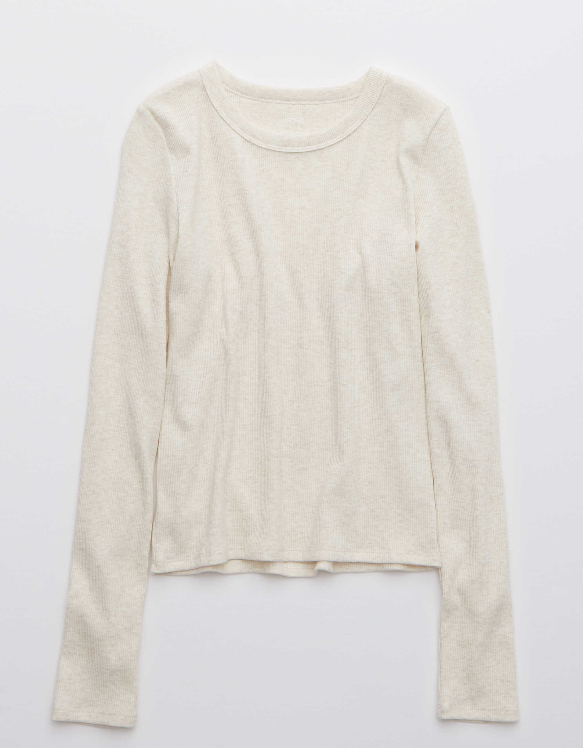 Aerie Ribbed Long Sleeve Cropped T-Shirt