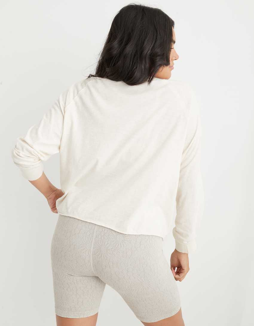 Aerie Long Sleeve Cropped Oversized T-Shirt