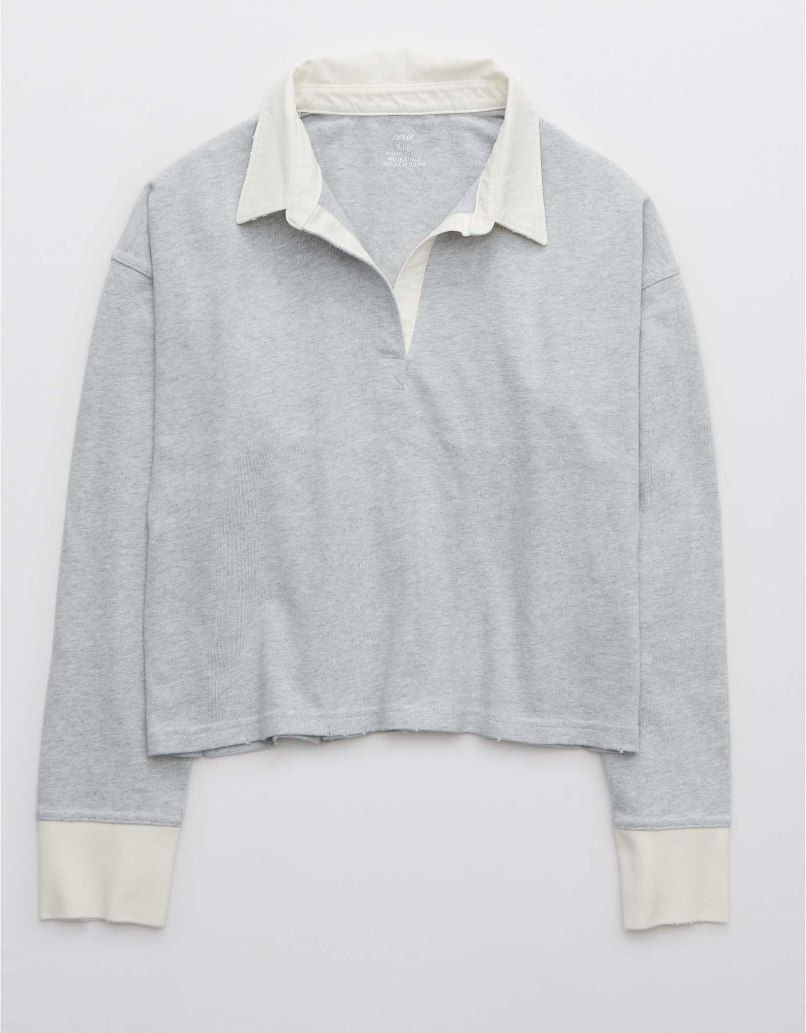 Aerie Long Sleeve Cropped Polo T-Shirt