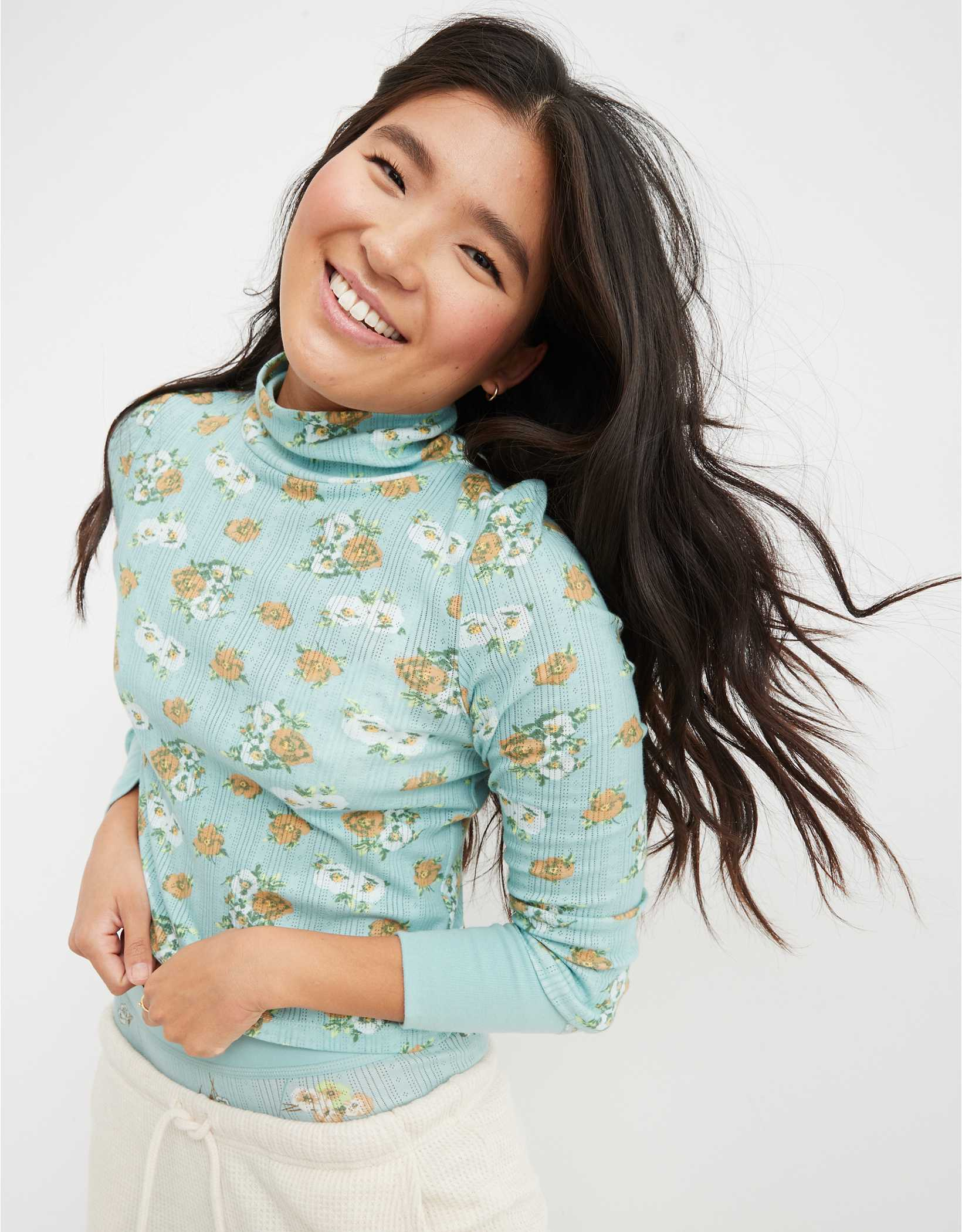 Aerie Pointelle Cropped Turtleneck T-Shirt