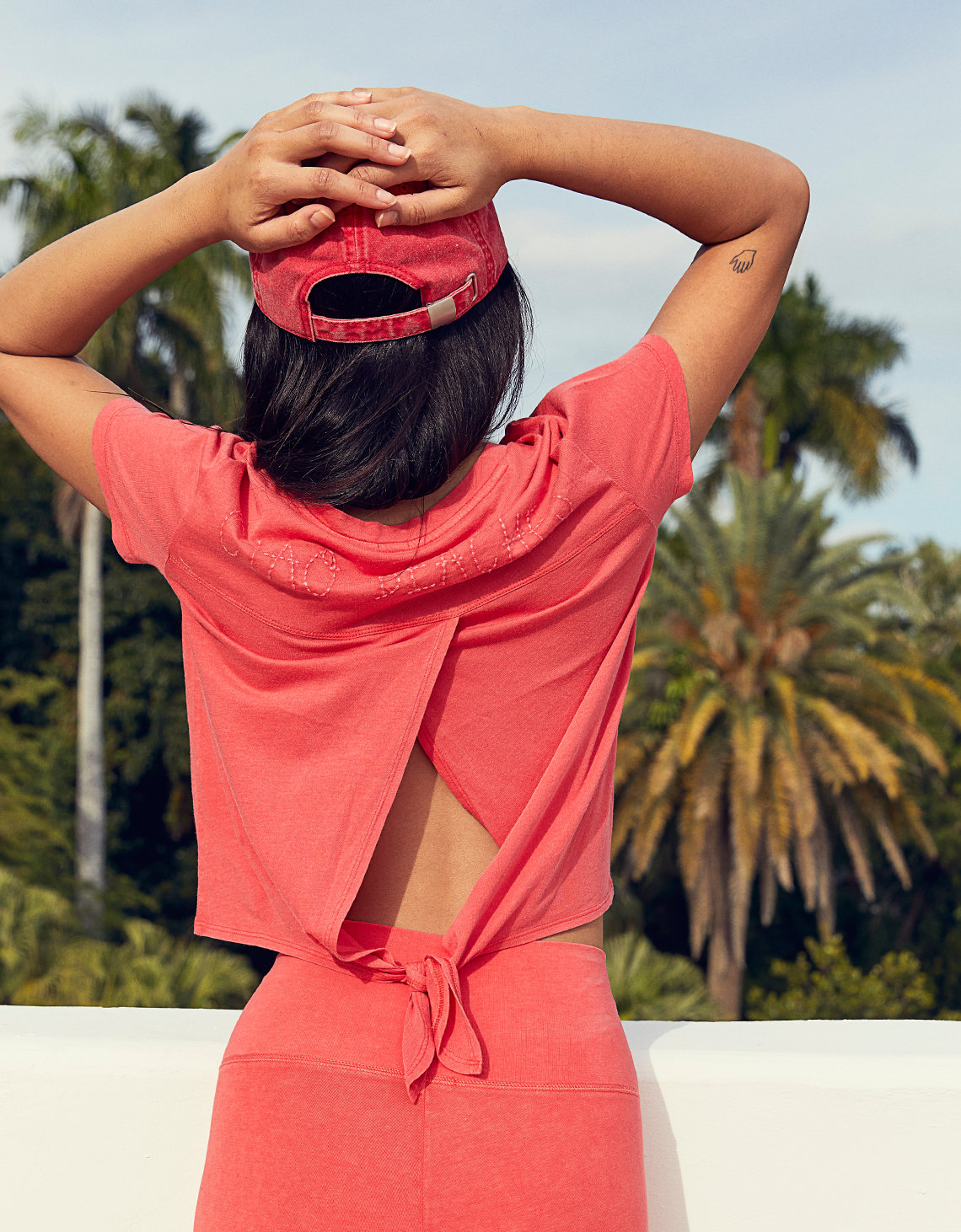 03948d3a Aerie Tie Back Baby Tee, Resort Red | American Eagle Outfitters