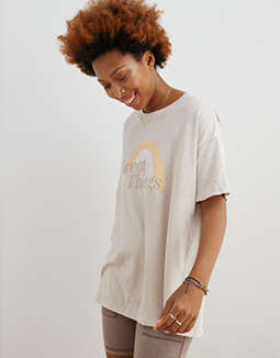 Aerie Distressed Retro Boyfriend T-Shirt