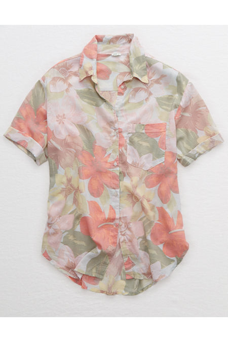 Women's 70s Shirts, Blouses, Hippie Tops Aerie Vintage Aloha Shirt Womens Resort Red XXL $27.96 AT vintagedancer.com