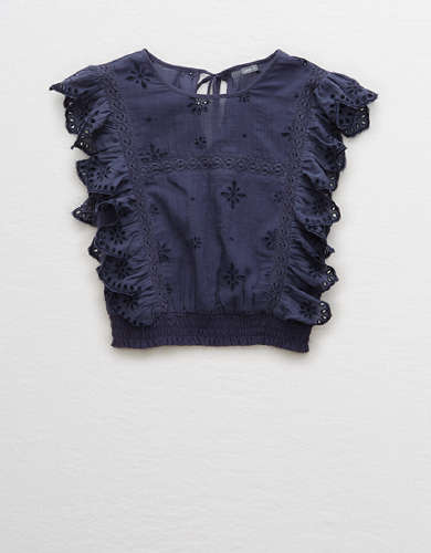 Aerie Ruffle Eyelet Top