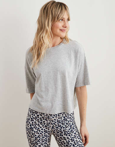 Aerie Cropped Oversized Boyfriend T-Shirt