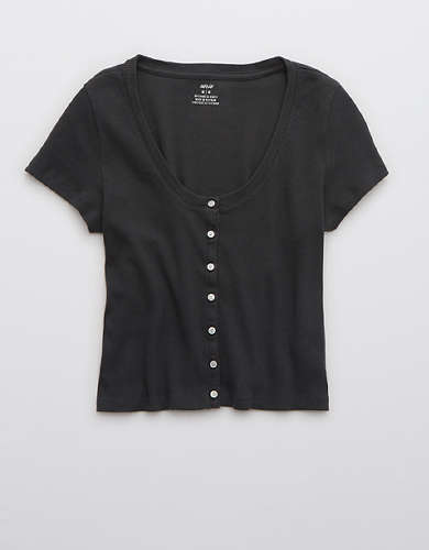 Aerie Ribbed Button Up Baby T-Shirt