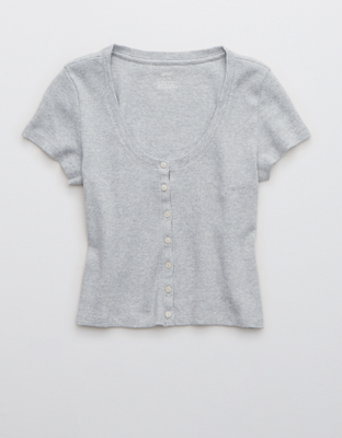Рубашка из рифленой ткани на пуговицах в стиле бэби-долл AE