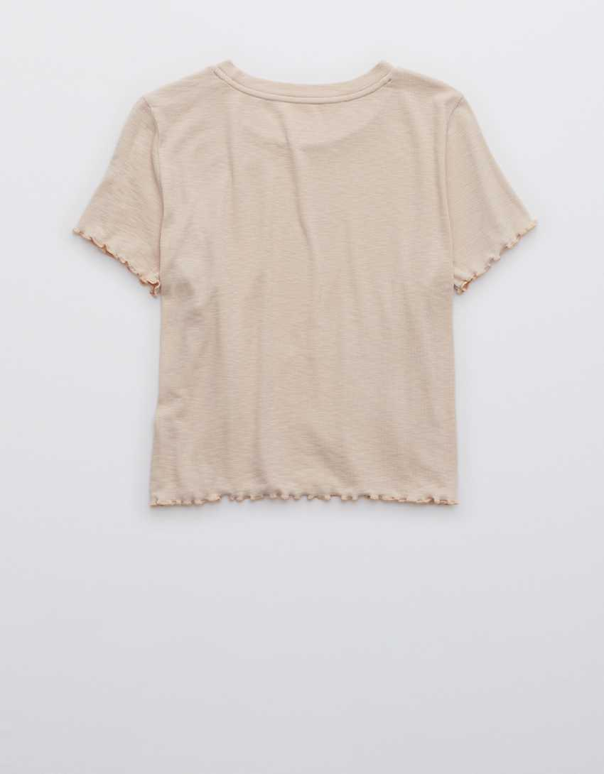 Aerie Ribbed Lettuce Trim Baby Tee