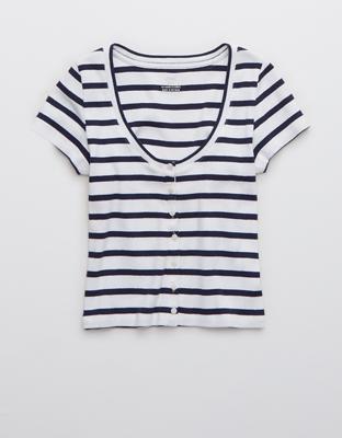 Полосатая рубашка из рифленой ткани на пуговицах в стиле бэби-долл AE