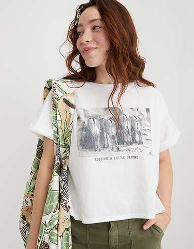 Aerie Zebra Graphic Oversized Cropped T-Shirt