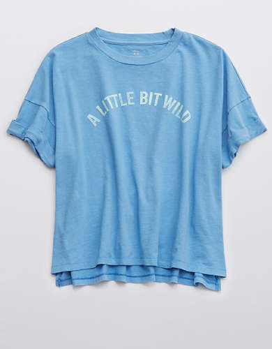 Aerie Little Bit Wild Graphic Oversized Cropped T-Shirt