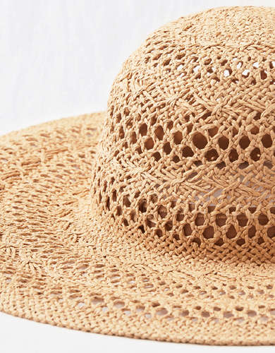 Aerie Crochet Straw Hat