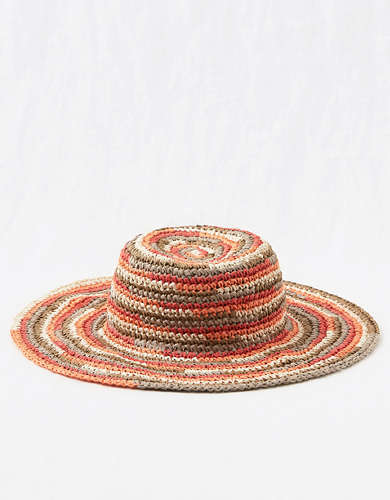 Aerie Striped Straw Bucket Hat