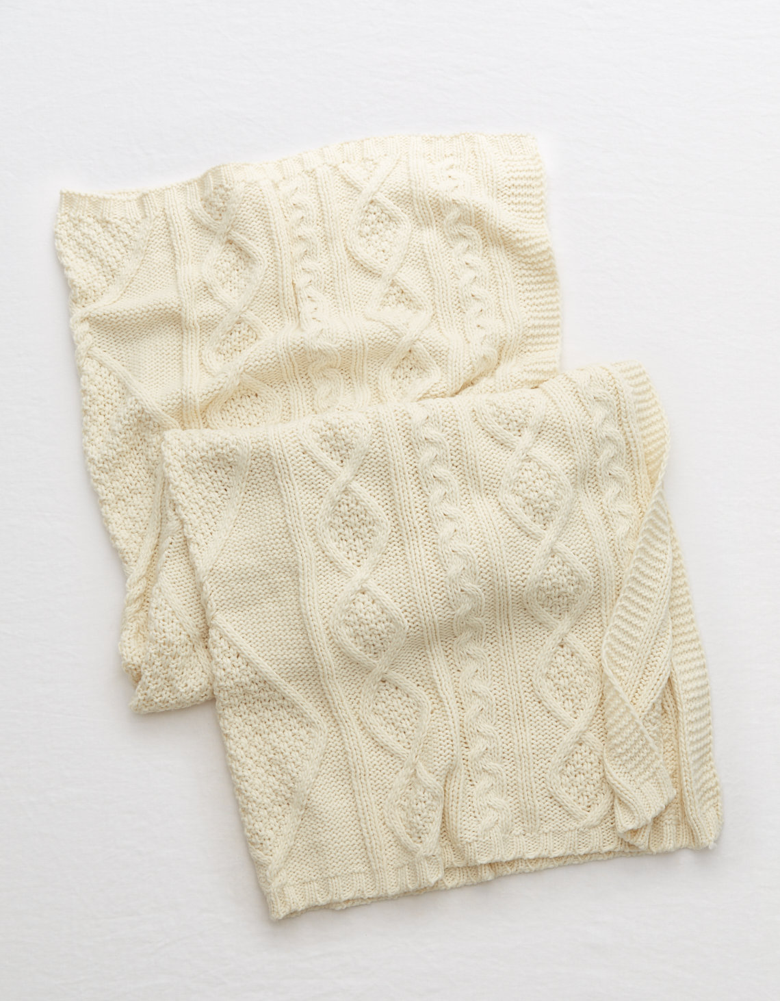 Aerie Classic Cable Knit Blanket Natural Aerie For American Eagle
