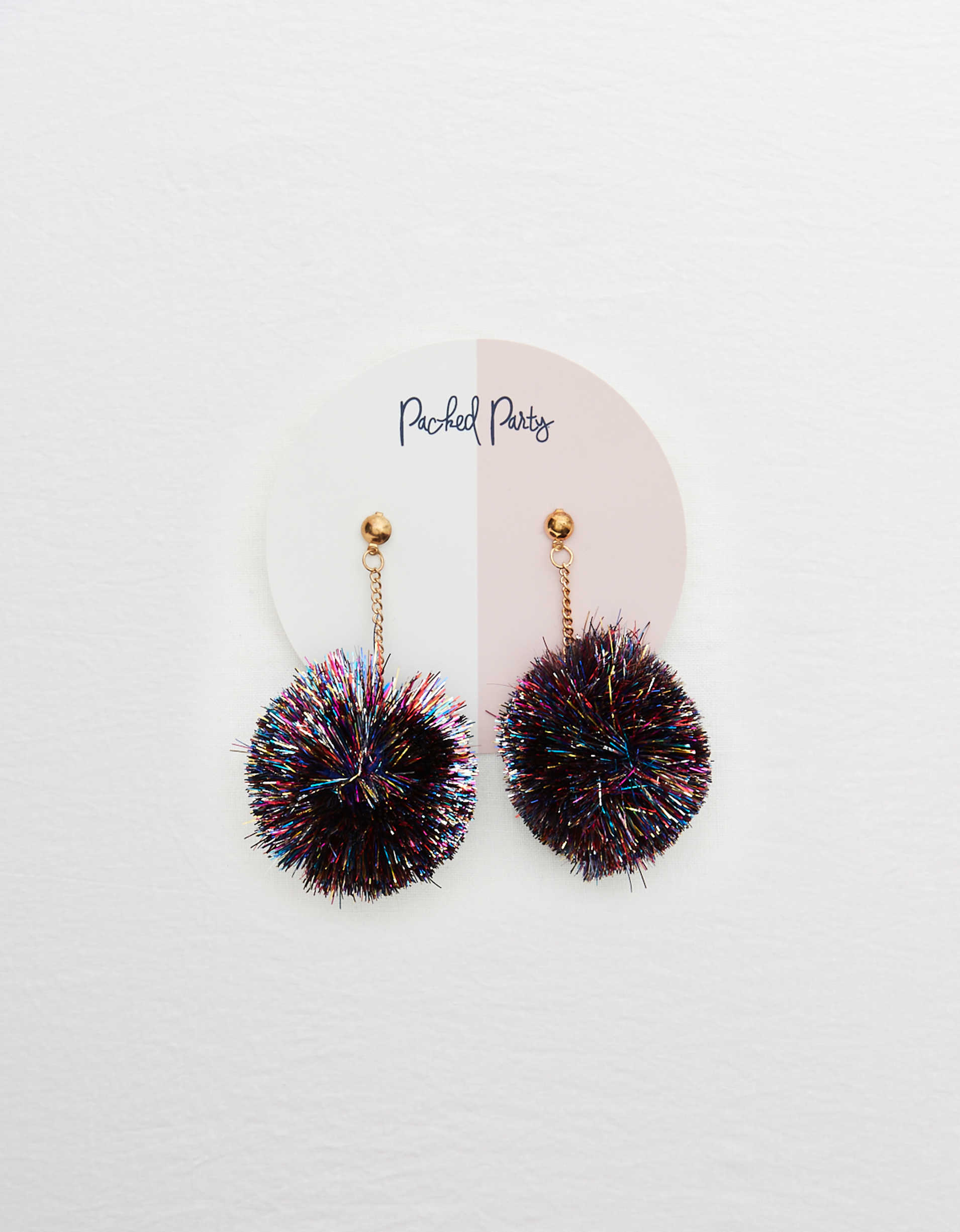 Packed Party Tinsel Pom Earrings