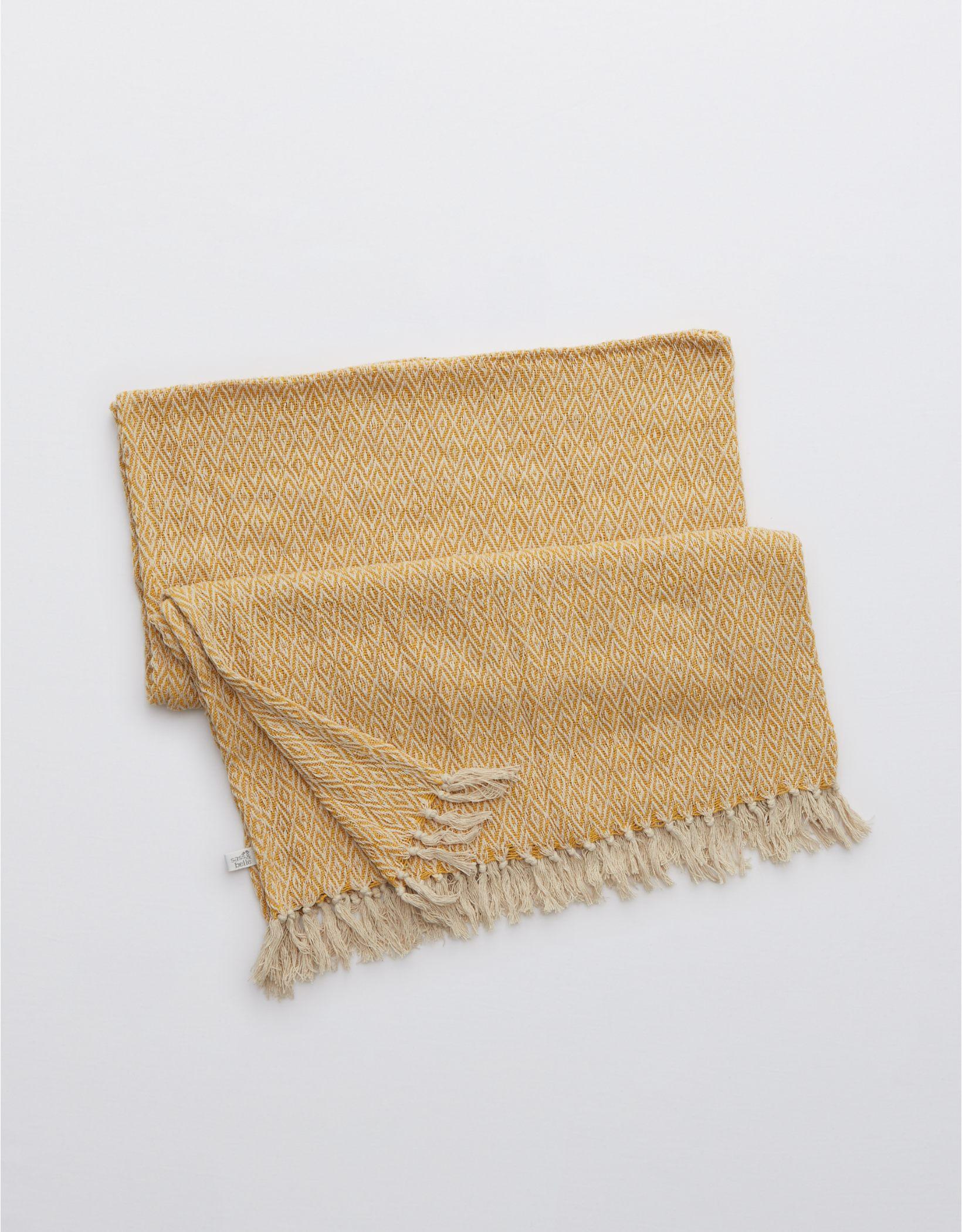 Sass & Belle Mustard Throw Blanket