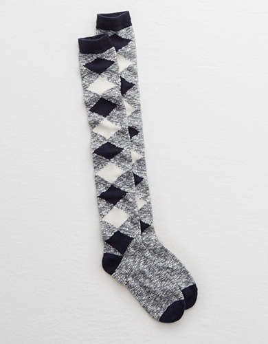 Aerie Argyle Over-the-Knee Socks -