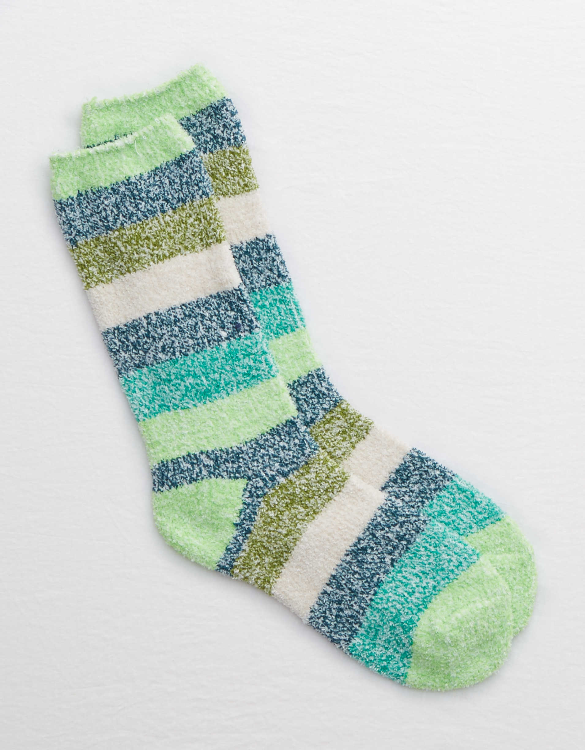 Aerie Fuzzy Striped Crew Socks