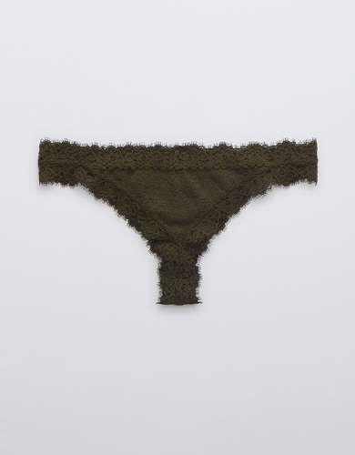 Aerie Eyelash Lace Thong Underwear