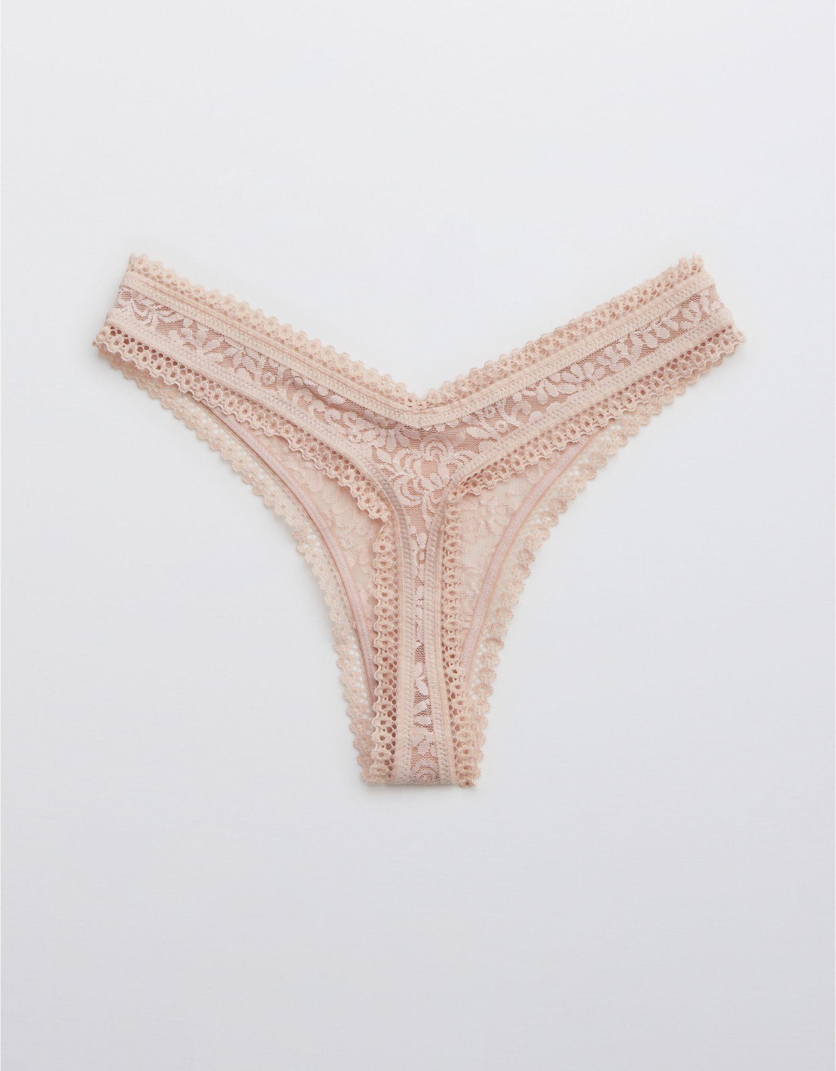 Aerie Far Out Lace High Cut Thong Underwear