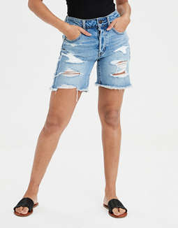 High-Waisted Tomgirl Denim Bermuda Short