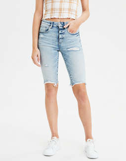 Super High-Waisted Denim Biker Short