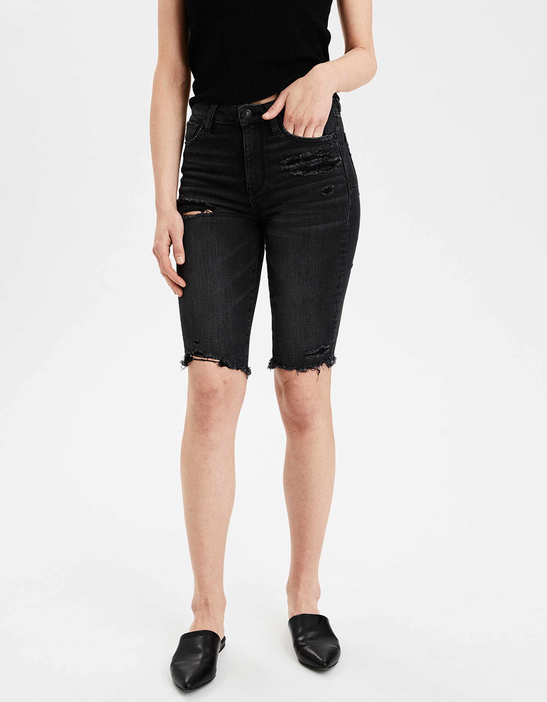 AE Ne(X)t Level Super High-Waisted Denim Biker Short