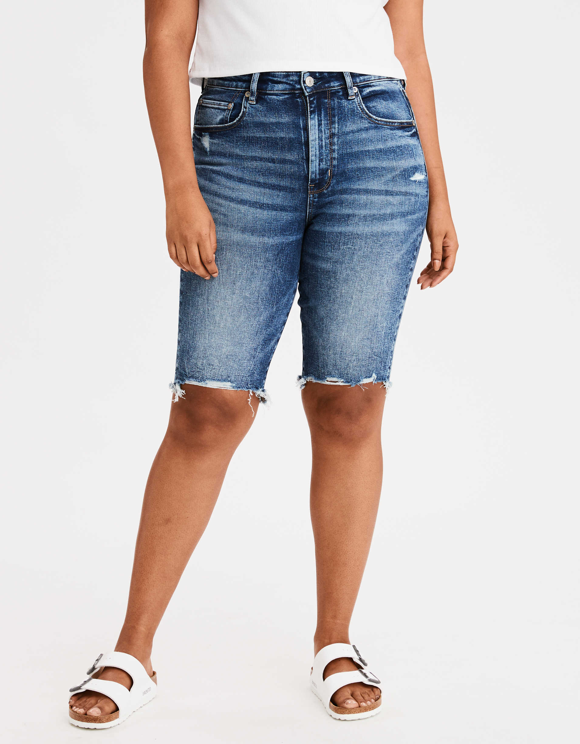 AE Super High-Waisted Denim Bermuda Biker Short