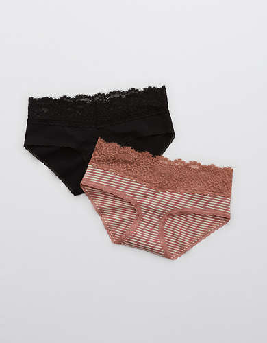 Aerie Cotton Eyelash Lace Boybrief Underwear 2-Pack
