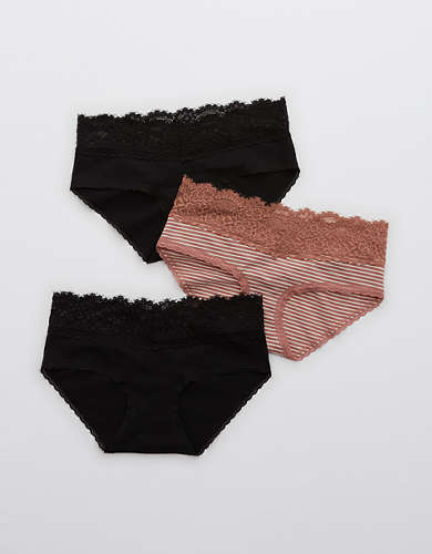 Aerie Cotton Eyelash Lace Boybrief Underwear 3-Pack