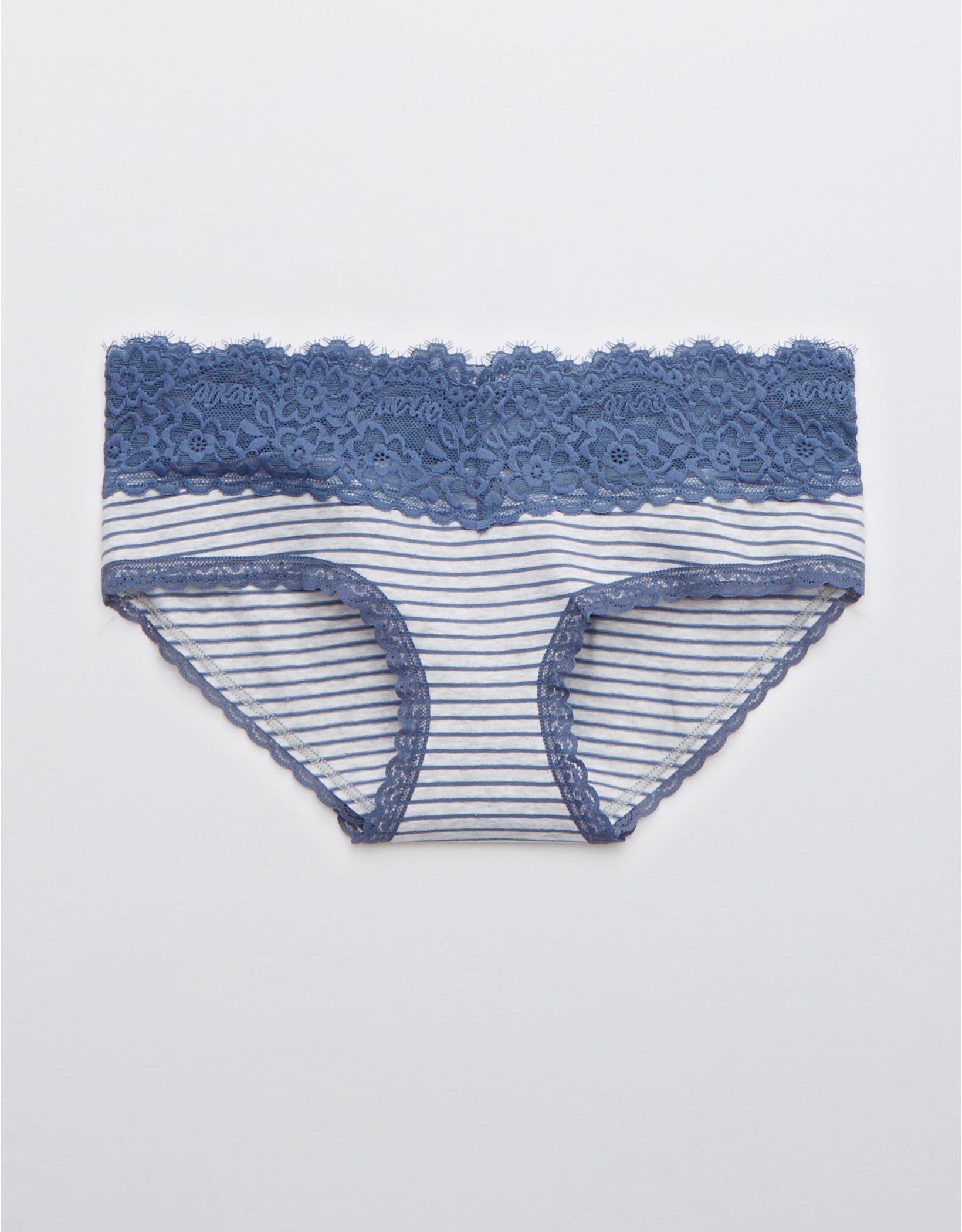 Aerie Cotton Eyelash Lace Striped Boybrief Underwear