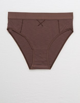 Aerie Cotton Ribbed High Cut &Amp; Mighty Bikini Undie by American Eagle Outfitters