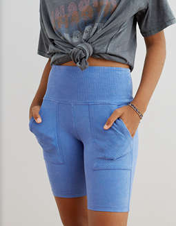 Aerie Chill Ribbed Pocket Bike Short