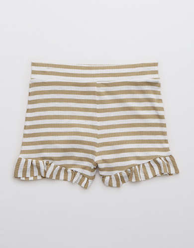 Aerie Real Soft® Ribbed Ruffle Striped Skivvie