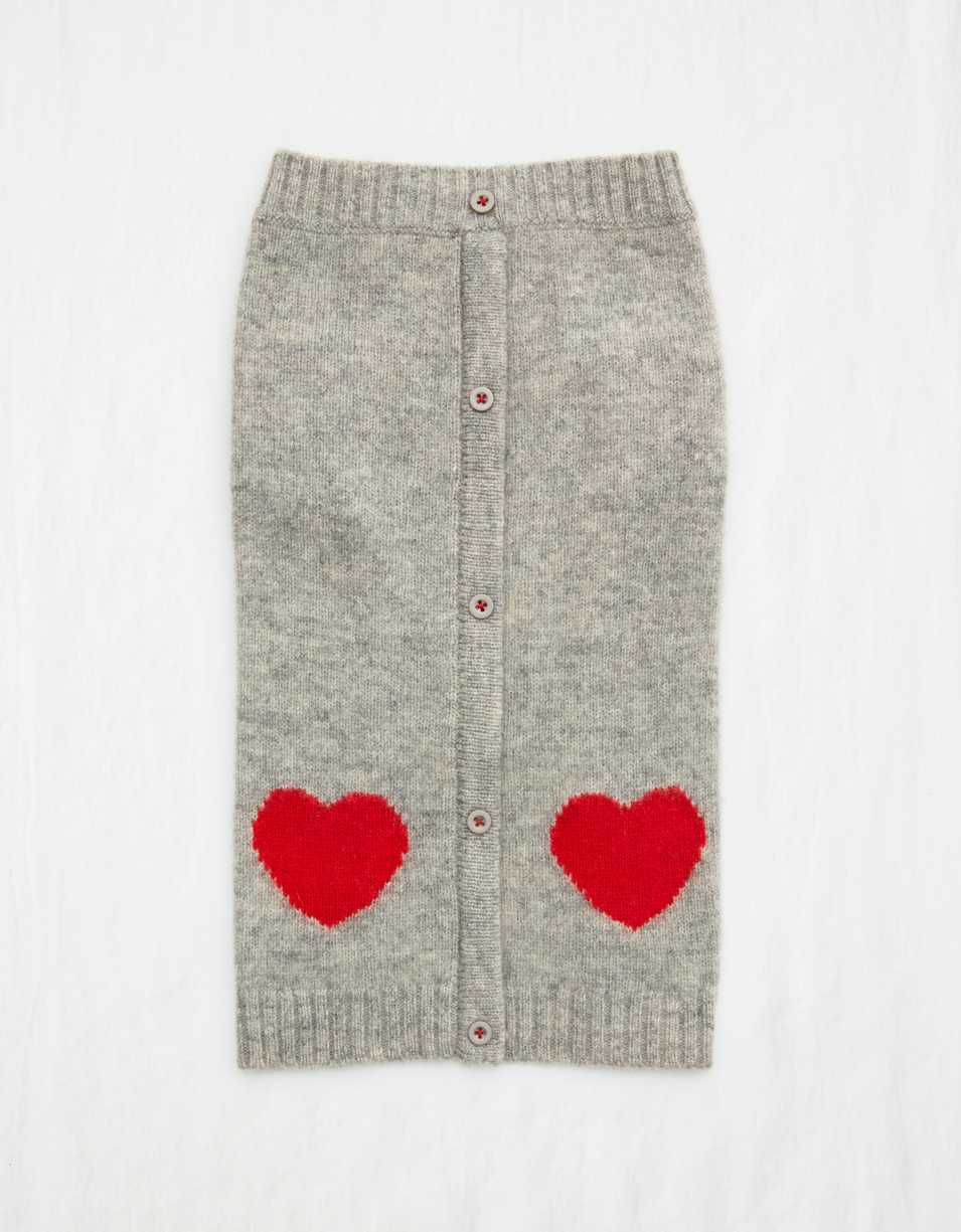 Ware Of The Dog Heart Cardigan - Light Gray