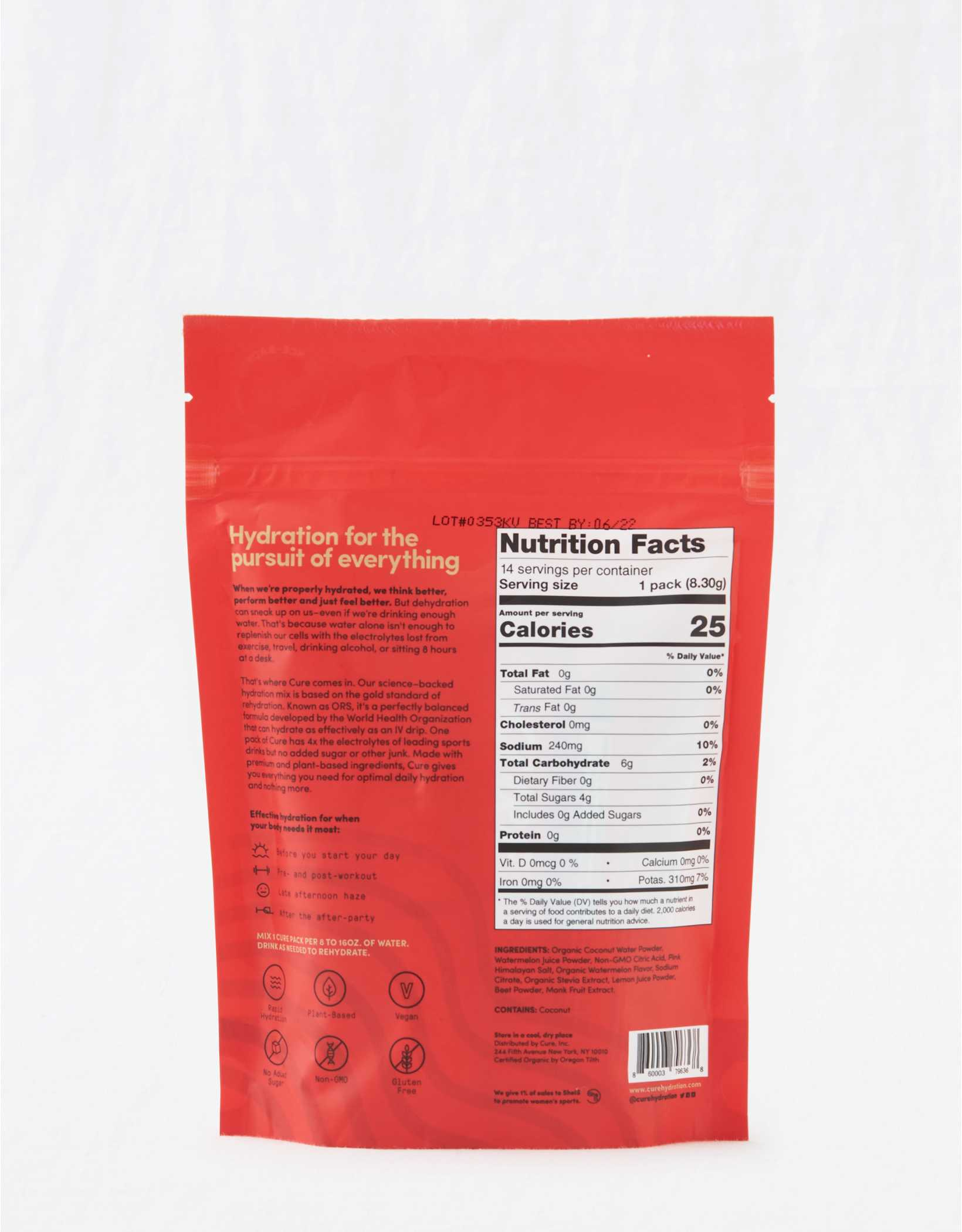 Cure Hydration Endless Summer Watermelon - 14  Ct Pouch