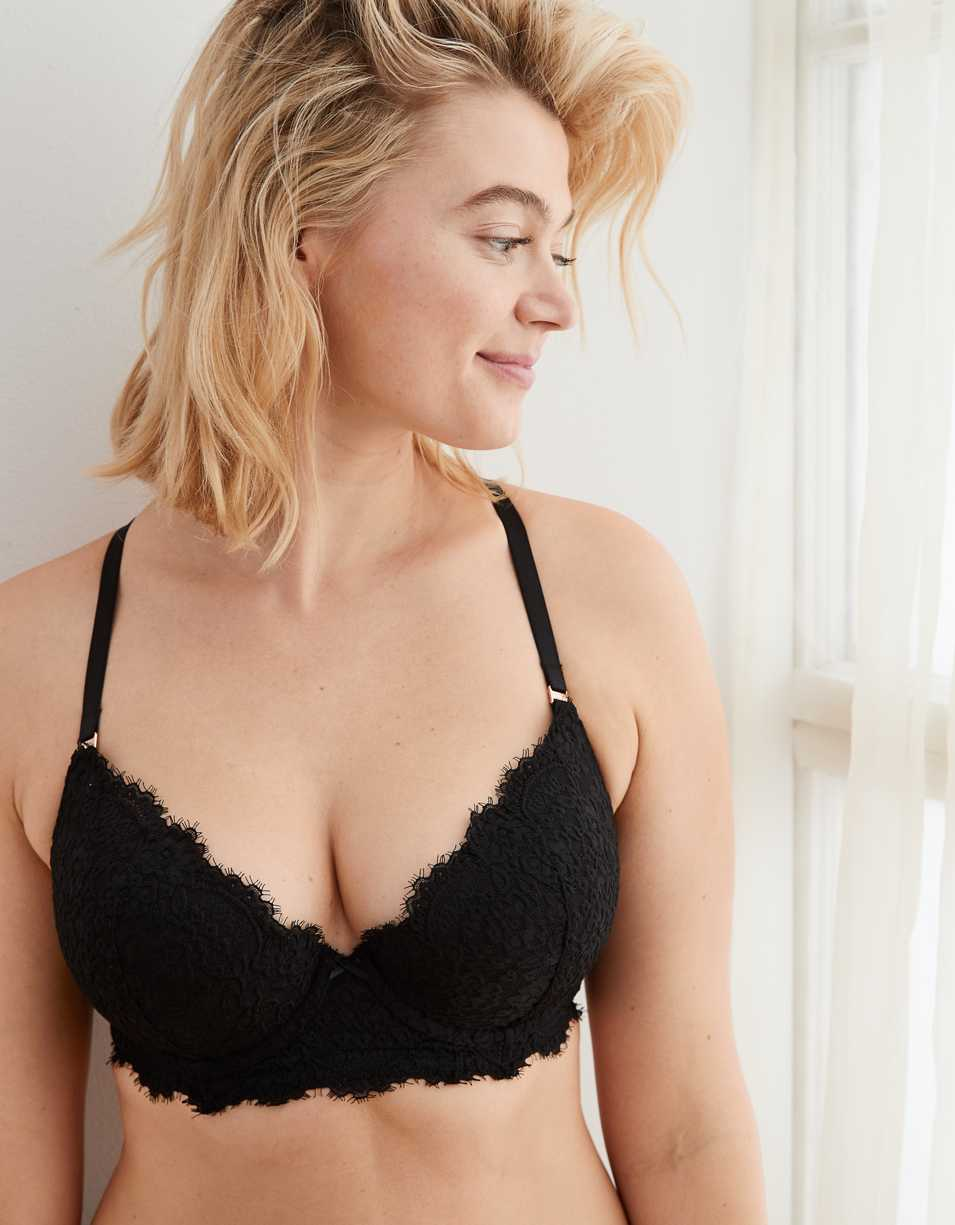 Aerie Real Power Plunge Eyelash Lace Push Up Bra