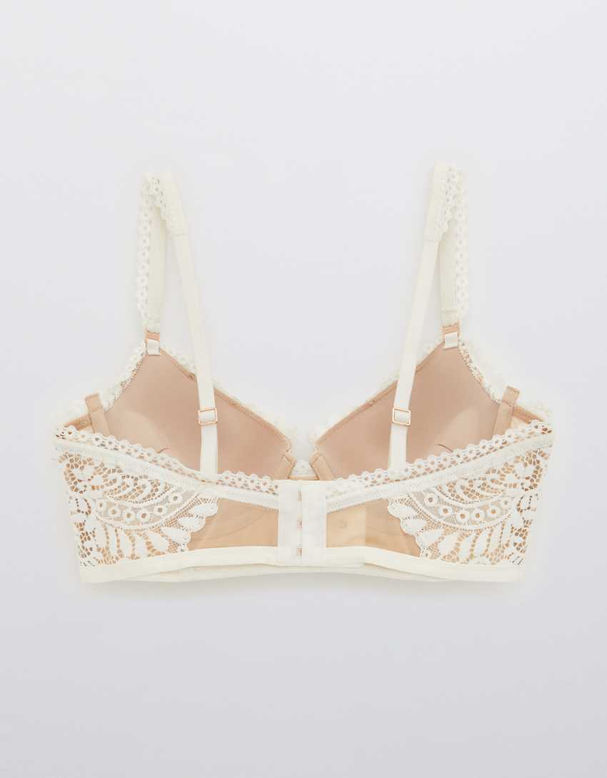 Aerie Real Power Plunge Push Up Far Out Lace Bra