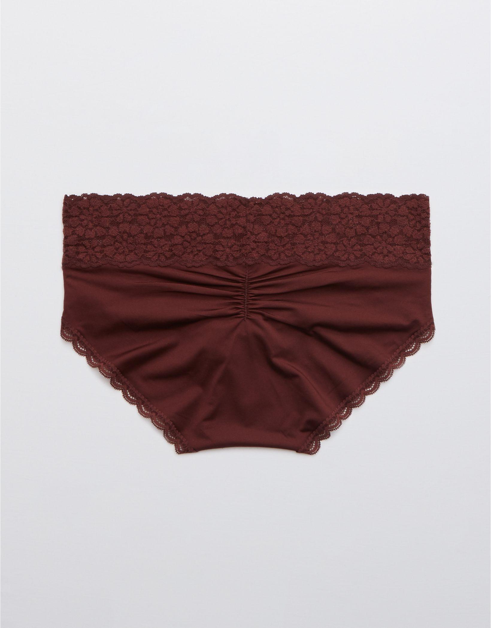 Aerie Sugar Cookie Lace Shine Boybrief Underwear
