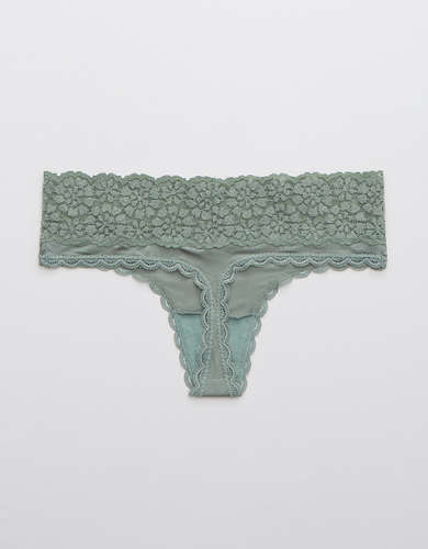 Aerie Sugar Cookie Lace Shine Thong Underwear