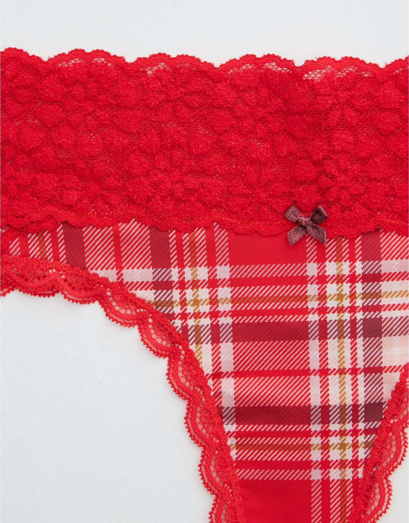 Aerie Sugar Cookie Lace Shine Thong Underwear
